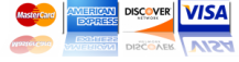 We Accept MasterCard American Express Discover and Visa in 91202